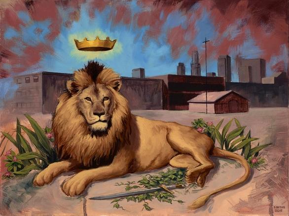 Brave Lion - Oil Painting